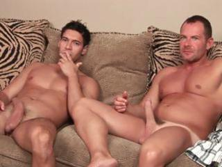 muscular latin hunk has gay porn while his chick