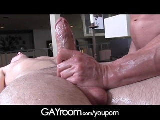 gayroom elderly masseur polishes and probes big