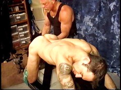 master derek da silva grabs his slaves balls and