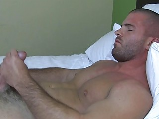awesome muscled gay stud enjoys with his uneasy