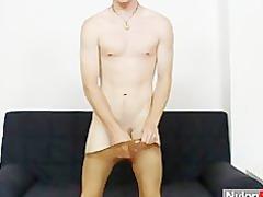 slim nylon man carl using a boy sex vibrator