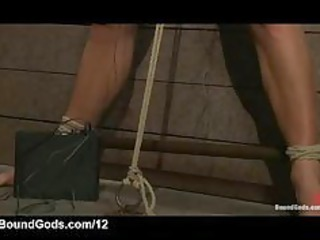 bound gay own fellatio and electricity shocks