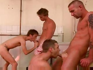 extremely impressive gay 4 some gang bang act