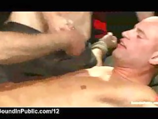 bound gay spitted and gangbanged at public party