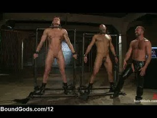 bound gays inside metal machine takes cattle