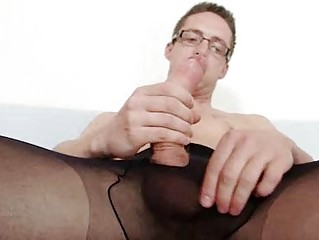 solo gay rick cums on his pantyhose tights