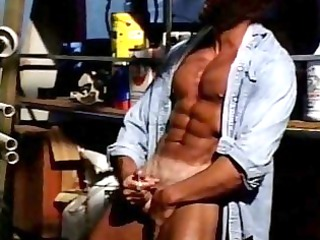 gay muscled stud jerks off