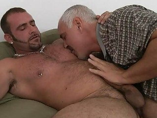 ancient gay daddy and tattooed hunk having tough