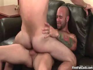 stunning tattooed gay fucker gets penis sucked