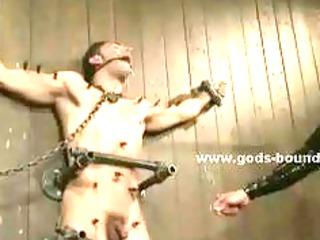 gay master dressed in leather gets porn slave and