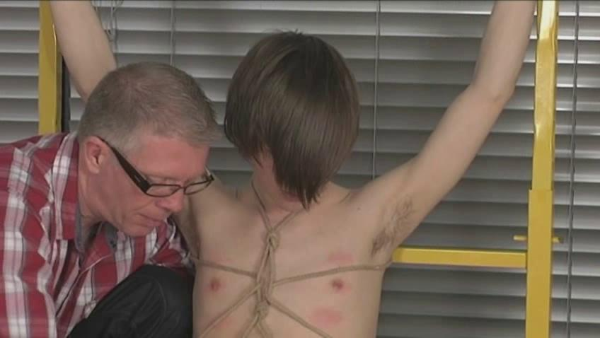 amateur gay guy with emo haircut acquires tied