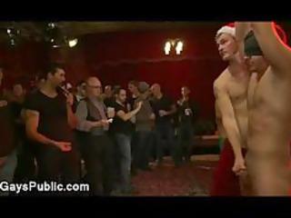 bound gay penis jerked off at xmas celebration