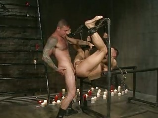 handsome gay man had roughly bondaged and drilled