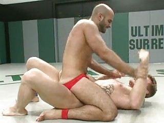 bald gay man humiliated during wrestling match