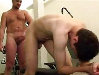 bald hunk fucks slim gay inside the gym