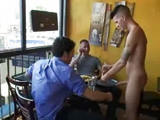 bdsm gay fuck by group of patrons inside