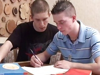 beautiful school gay guy drilled by his partner