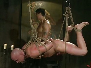 bald gay guy tortured by eastern  hunk