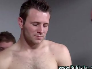 hunky gay gets bukkake after being fucked