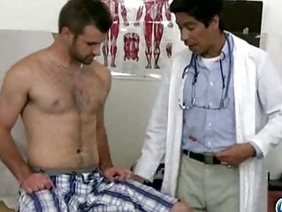desperate eastern  gay medic examining super
