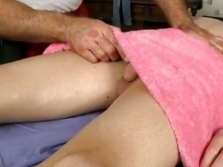 muscle gay man gives boy a massage and a handjob