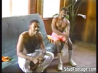 brown gay men copulate on the couch