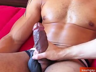 arab male obtain wanked his huge cock by a gay